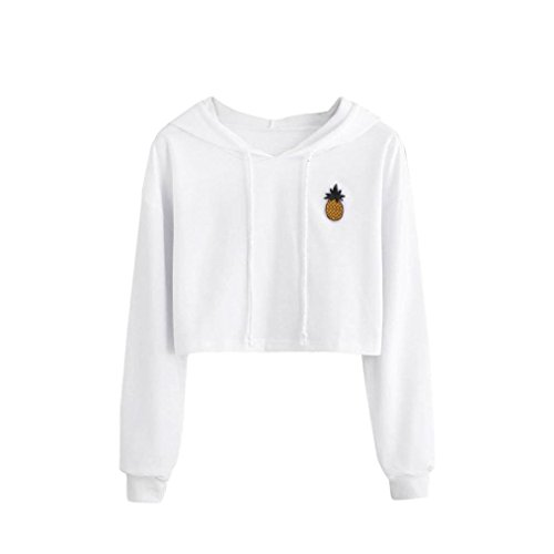 AMSKY Clearance Women Teen Girls Cute Pineapple Appliques Long Sleeve Hoodies Pullover Crop Top Sweatshirt Blouse Top (S, White) ()