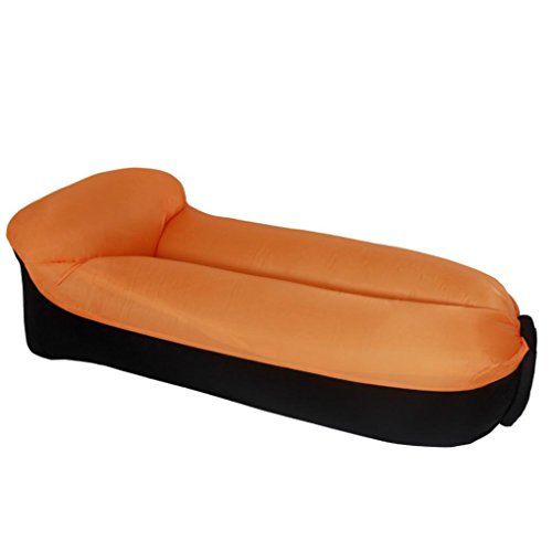 KinmgWo Inflatable Lounger Hammock ,Best Air Lounger for Travelling-Camping, Hiking - Ideal Inflatable Couch for Pool and Beach Parties - Perfect Air Chair for Picnics or Festivals (Orange) by KingWo