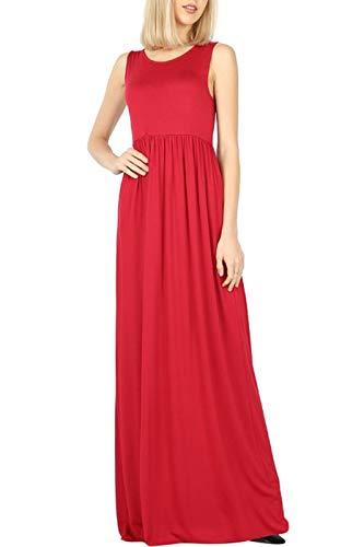 Bon Rosy Women's Soft Touch High Waist Solid Tank Top Jersey Maxi Dress w/Side Pocket Burgundy L