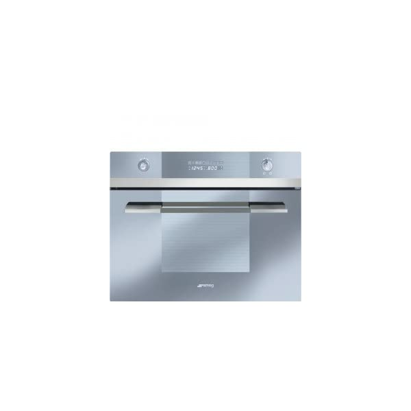 """Smeg SCU45VCS1 24"""" Linea Series Built-In Speed Wall Oven with 1000 Watt Microwave True European Convection 10 Cooking Modes Stainless Steel Cavity and Digital LED Display in Stainless 1"""