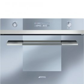 """Price comparison product image Smeg SCU45VCS1 24"""" Linea Series Built-In Speed Wall Oven with 1000 Watt Microwave True European Convection 10 Cooking Modes Stainless Steel Cavity and Digital LED Display in Stainless"""