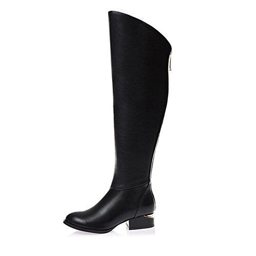 H HDonne di inverno e di autunno (nero. Bianco) stivali in pelle testa strato di cuoio antiscivolo indossare-resistente cerniera stivali alti , BLACK , 39