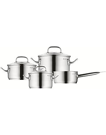 WMF Profi Plus - Batería de cocina de 4 piezas de acero inoxidable (cacerola de