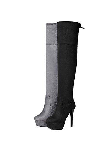 XZZ/ Damen-Stiefel-Kleid / Lässig-Kunstleder-Stöckelabsatz-Rundeschuh / Reitstiefel-Schwarz / Grau black-us9 / eu40 / uk7 / cn41