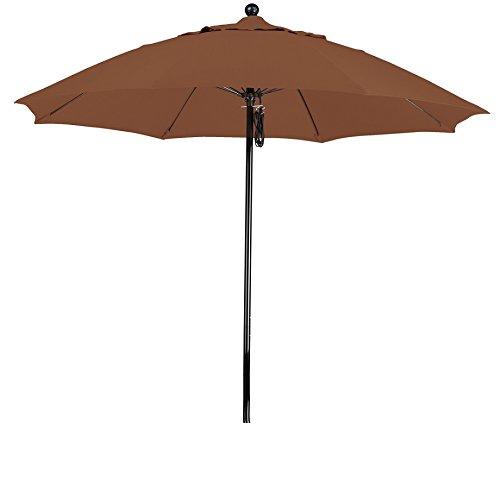 California Umbrella 9' Round 100% Fiberglass Frame Market Umbrella, Push Lift, Black Pole, Sunbrella Teak (Teak Sunbrella Shade)