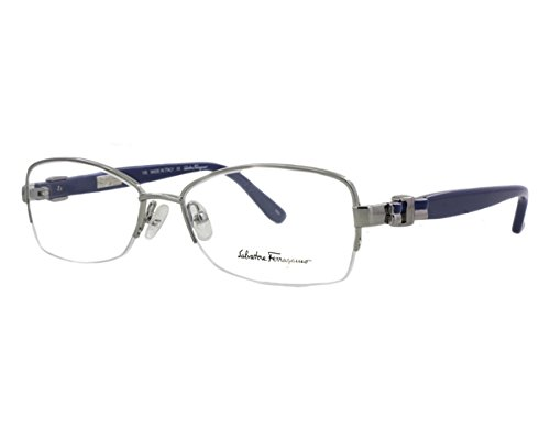 Salvatore Ferragamo Rx Designer Reading Glass Frame 2101 in Silver-Blue ; Frame - Reading Ferragamo Glasses