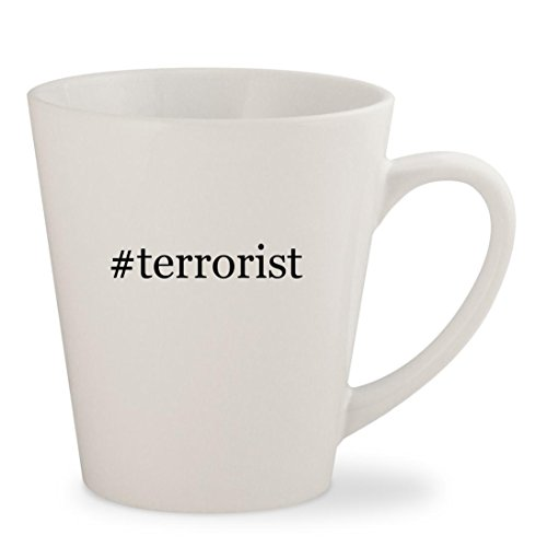 #terrorist - White Hashtag 12oz Ceramic Latte Mug (Achmed The Dead Terrorist Costume)