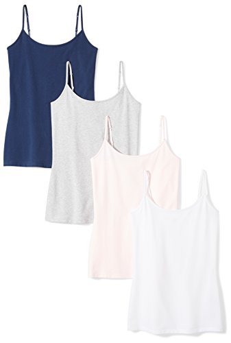 Amazon Essentials Women's 4-Pack Camisole, Navy/Light Pink/White/Light Grey Heather, XX-Large ()