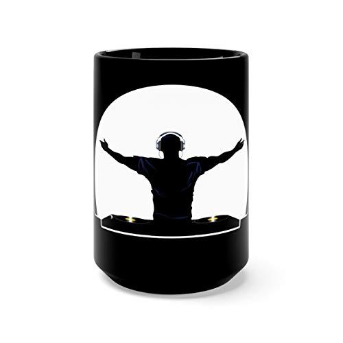 DJ Deejay Heartbeat Funny Music Player Cool Water Mug Cups Ceramic 15oz Black