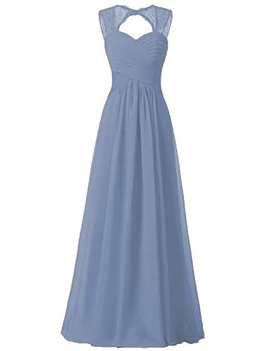 Steel Blue Bridesmaid Dress Junior Long Chiffon Formal (Illusion Formal Dress)