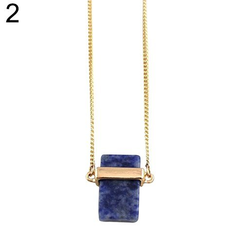 Tone Rectangle Pendant - Blue Women's Rectangle Turquoise Pendant Golden Tone Sweater Long Chain Necklace