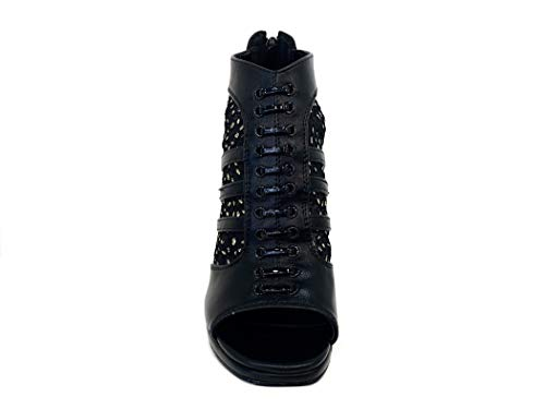 Italian Décolleté Nero Wedding Leopard Tacco Shoes Open Ceremony Cerimonia Alto Particolare Elegant Spuntato Design Decolte Heel Elegante Black Woman Plateau Donna Matrimonio Toe Scarpe High pTx5qg5