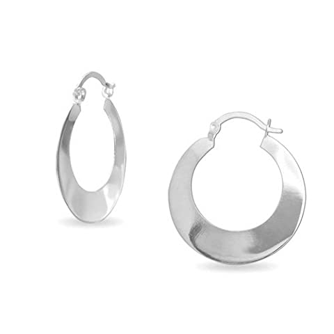 Bling Jewelry Flat Round 925 Sterling Silver Hoop Earrings Snap Back