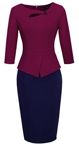 HOMEYEE Women's Elegant Chic Bodycon Formal Dress B288 (XL, B-Carmine+Dark Blue)