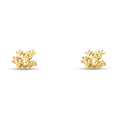 14k Yellow Gold Frog Stud Earrings (8 X 9mm)