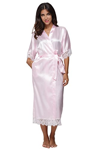 KimonoDeals Women's Elegant Lace Trim Solid Color Long Kimono Robe, Pink L