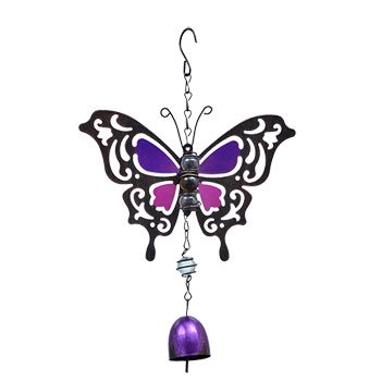 Set of 2 Butterfly Metal Bell Wind Chimes