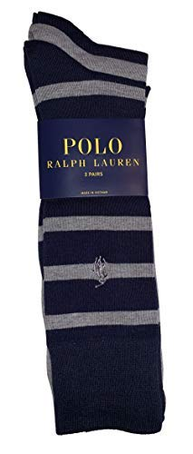 (Polo Ralph Lauren Rugby Stripe Dress Sock - 3 Pack Size 10-13)