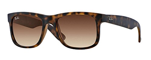 Ray-Ban Men's 0RB4165 Justin Unisex Sunglasses (54 MM Matte Tortoise Frame w/ Brown Lens, 54 MM Matte Tortoise Frame w/ Brown - Wayfarer Ban Matte Ray Tortoise