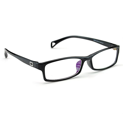 PenSee Fashion Horned Rim Rectangular Eye Glasses Frames Clear Lens (Black)