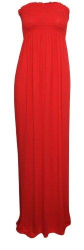 Maxi Red Fashion Boob Dress Sheering Ditzy Plain Women's Tube 8Pd8Yq