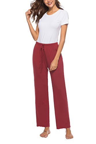 (WOAIVOOU Women's Stretch Cotton Knit Pajama Pants Lounge Pants with Drawstring Wine Red XL)