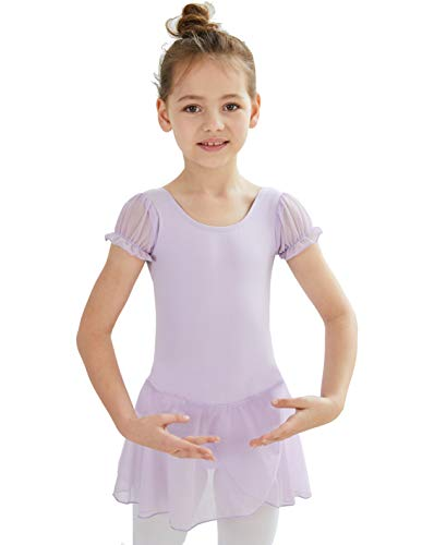 MdnMd Girls' Puff Sleeve Skirted Leotard (Tag130 (Age 6-8 Height 49-52