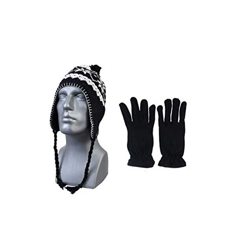 ((Black) Peruvian Winter Hat Earflaps and. Womans Mens Unisex, One Size Fits All. Warm Thick Fleece Lined Beanie Hat. New Fashion Snow Flake Design. Braided tie strings with Pom Pom. Christmas Gift)