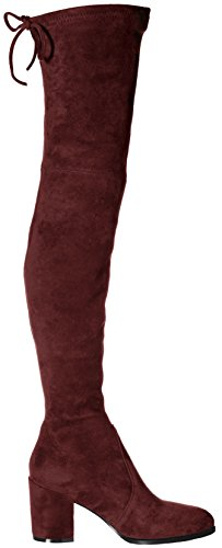 Microsuede Over Block Slim Pan Knee fit Boots The Burgundy Kaitlyn Heel Red wnpCftCq