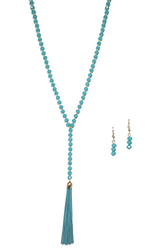 Aqua Blue Crystal Beaded Tassel Necklace and Earrings