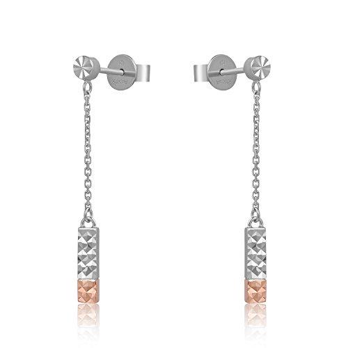 MaBelle - Rectangle Coupe Diamant Boucles d'oreilles Pendantes Clous Femmes Deux Couleur Rose Or Blanc 585/1000 (14 carats)
