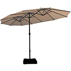 Garden and Outdoor Tangkula 15 Ft Patio Double Sided Umbrella with Base, Outdoor Extra Large Market Umbrella with Crank Handle, Outdoor… patio umbrellas
