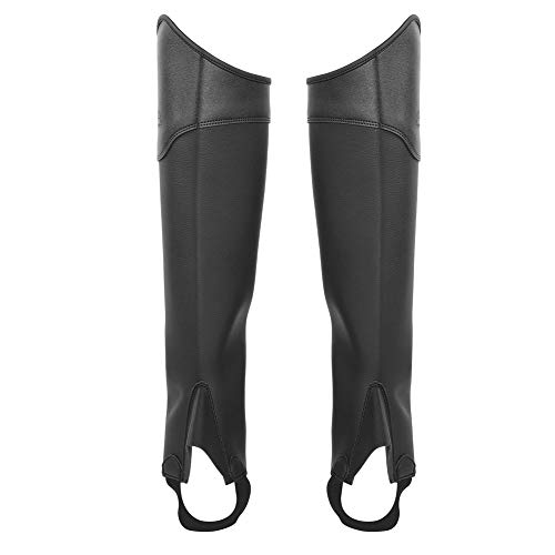 Zerone Childrens Half Chaps, 1 Pair Kids Horseback Riding Horsemanship Suede Leather Gaiters Leg Protector for Outdoors Fitness Horse Riding (Black L) ()