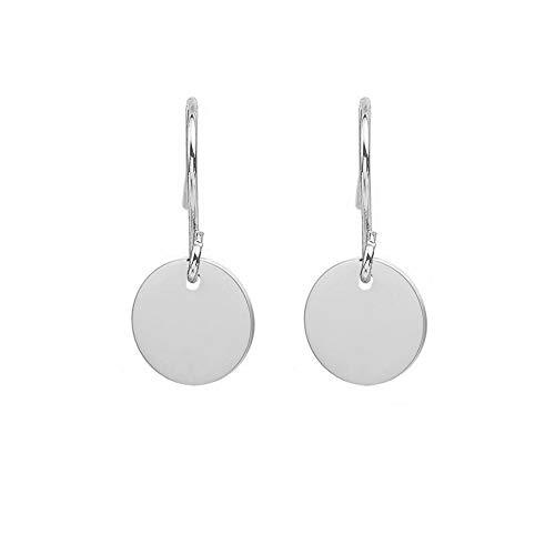 WLLAY Elegant Small Circle Disc Dangle Drop Earrings Gold Silver Jewelry for Women Girls(Silver)