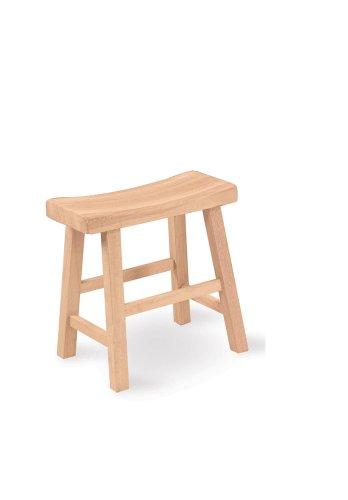 Wood Stools Seat - International Concepts 1S-681 18-Inch Saddle Seat Stool, Unfinished