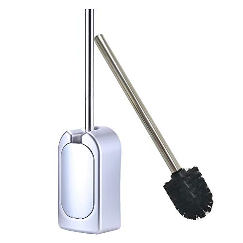 BERKET Compact Wall-Mounted Toilet Brush Holder Bathroom Brush with Plating Stainless Steel Handle (Silver)