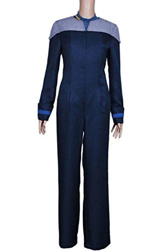 DreamDance Star Trek TNG Cosplay Deanna Troi Costume Outfit Blue (Deanna Troi Costume)