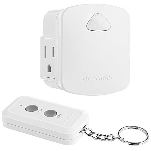 DEWENWILS Remote Control Outlet, Wireless Remote Light Switch, 15A/1875W, 100 FT Range, Programmable, Low Profile Side Plug, White (1 Remote + 1 Outlet Set)