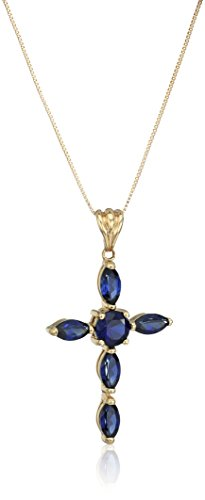 10k Yellow Gold Created Blue Sapphire Cross Pendant Necklace, 18
