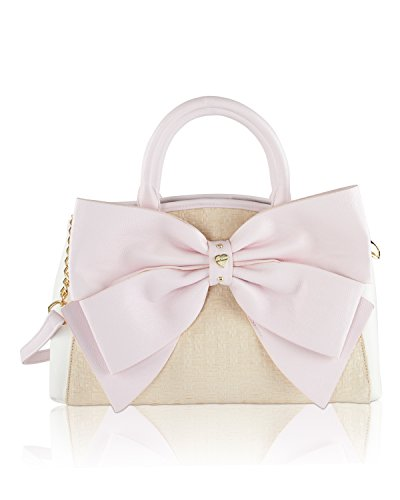 Betsey Johnson Big Bow Raffia Wagon Satchel Shoulder Handbag - Sand
