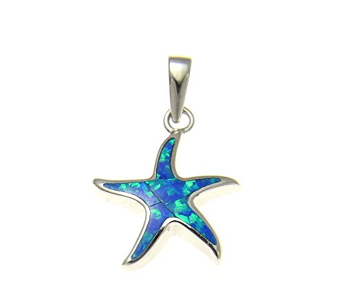 Synthetic Star Blue (925 Sterling silver Hawaiian sea star starfish blue synthetic opal pendant charm)