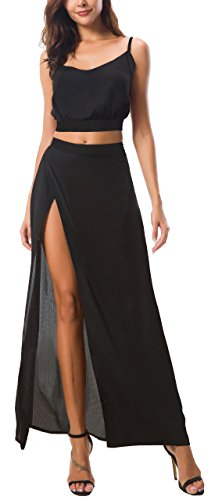KorMei Women's Floral Crop Top Maxi Skirt Two Piece Side Split Long Maxi Dress S Black