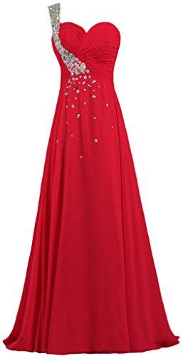 Cristal En Mousseline De Soie Une Robe De Bal Épaule Longue De Rouge Robe De Soirée De Fourmis Femmes