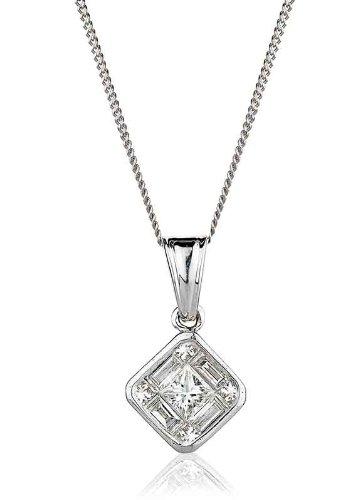0.65CT Certified G/VS2 Princess Cut Centre with Baguette and Round Brillant Cut Diamond Shape Diamond Pendant in 18K White Gold