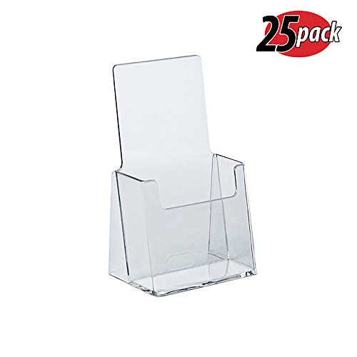 (Azar 252012 Clear Acrylic Trifold Literature Brochure Holder For Counter | Perfect For Pamphlets | Brochures | Menus | Promotions | Literature | Made In USA)