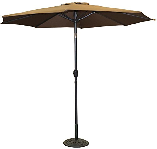 VMI 9-Feet Adjustable Umbrella with Aluminum Pole, Brown