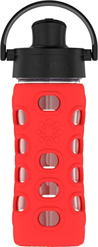 (Lifefactory 12-Ounce BPA-Free Glass Water Bottle with Active Flip Cap and Protective Silicone Sleeve, Apple Red)