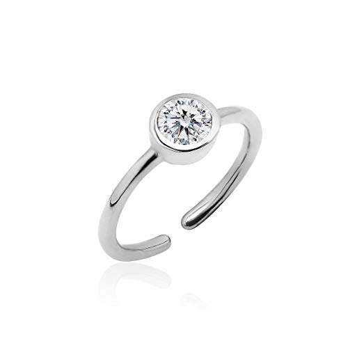 Big Apple Hoops - Genuine 925 Sterling Silver ''Basic and Simple'' Open Knuckle/Toe Ring for Women with Sparkling Cubic Zirconia | All Day Comfort