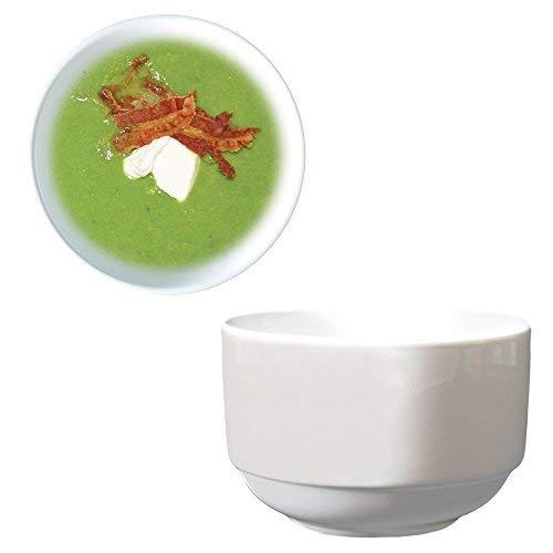 Dauerhaft Dinnerware Stacking Bouillon/Bouillon Cups 8 oz Porcelain Super White High-end Restaurant & Hotel Quality (24)