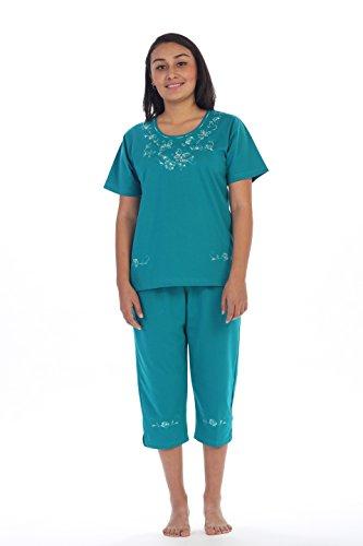 unik Women's Short Sleeve Embroidered Butterflies Blouse and Matching Capri Set, Jade Size Large
